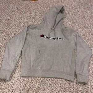 Champion Crop Reverse Weave Sweatshirt Hoodie grey
